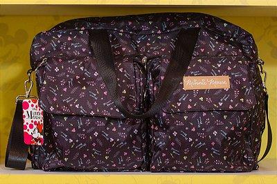 Bolsa de Viagem Dobrável Preta Flores Minnie - Disney