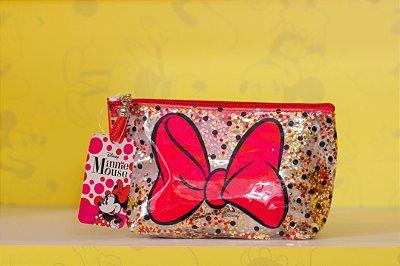 Necessaire Transparente Minnie Laço Vermelho - Disney