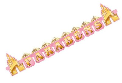 Faixa Parabéns Decorativa Princesas Disney