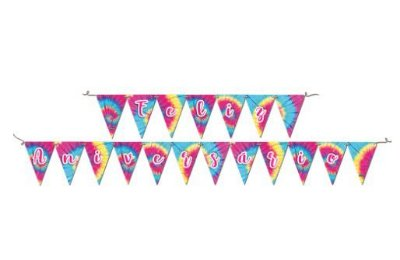 Faixa Decorativa Feliz Aniversário Tie Dye