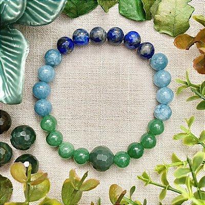 Pulseira em Pedras Naturais Lápis Lazúli, Jade Azul e Quartzo Verde - Proteção Espiritual, Energia e Vitalidade