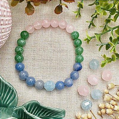 Pulseira em Pedras Naturais Poder dos Quartzos - Amor Pleno, Saúde e Diminuir a Ansiedade
