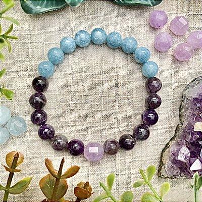 Pulseira em Pedras Naturais Ametista e Jade Azul - Proteção Espiritual e Paz