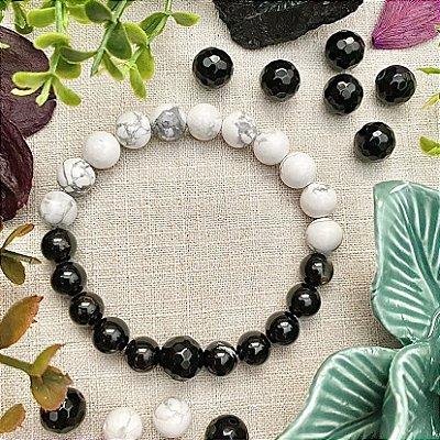 Pulseira em Pedras Naturais Turmalina Negra e Howlita Branca - Energia Yin e Yang e Afastar a Negatividade