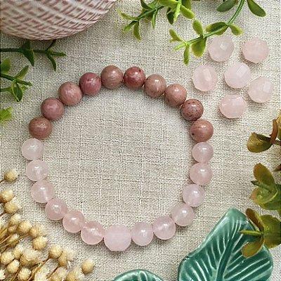 Pulseira em Pedras Naturais Quartzo Rosa e Rodocrosita - Amor e Cura de Traumas