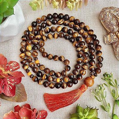 Japamala 108 contas de Olho de Tigre - Afastar Energia Negativa, Prosperidade e Equilíbrio das Energias Yin e Yang