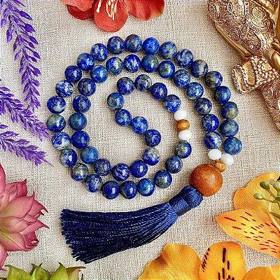 Japamala 54 contas de Lápis Lazúli - Força e Evolução Espiritual, Equilíbrio das Emoções e Proteção contra Ataques Psíquicos (Japamala de mão)