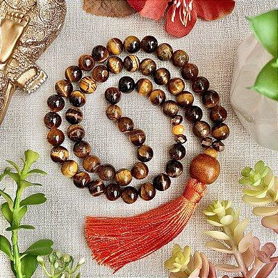 Japamala 54 contas de Olho de Tigre - Afastar Energia Negativa, Prosperidade e Equilíbrio das Energias Yin e Yang (Japamala de mão)