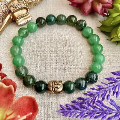 Pulseira de Pedra Natural Quartzo Verde e Ágata Verde - Equilíbrio Energético Físico e Espiritual, Vitalidade e Saúde
