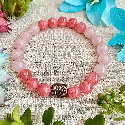 Pulseira de Pedra Natural Jade Rosa e Quartzo Rosa - Harmonia e Paz nos Relacionamentos, Amor e Cura Emocional