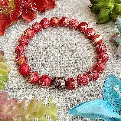 Pulseira de Pedra Natural Jaspe Imperial Vermelho - Proteção Energética, Manter a Calma e para Estabilização Emocional