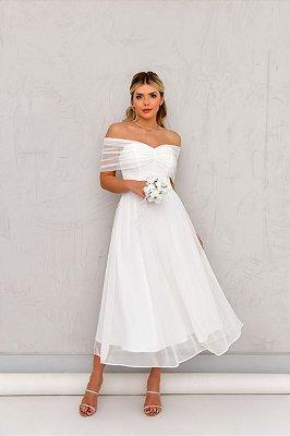 Vestido Tule Aurora Off White