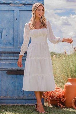 Vestido Midi Aiko Off White