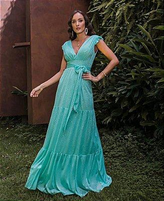 Vestido Lurex Rita Verde Tiffany