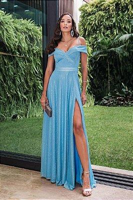 Vestido Merlyn Lurex Azul Serenity