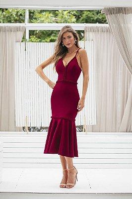 Vestido Midi Milena Marsala