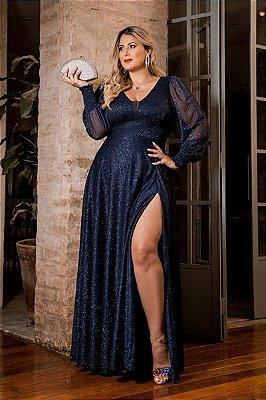 Vestido Scarlet Azul Marinho Plus Size