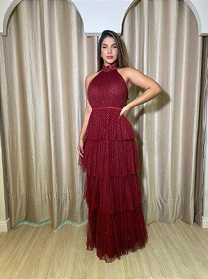 Vestido Raquel Marsala Lurex
