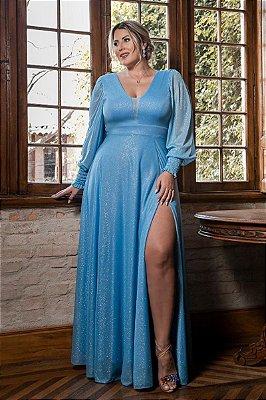 Vestido Scarlet Lurex Azul Serenity Plus Size