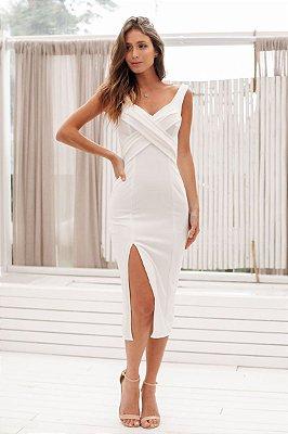 Vestido Midi Alessandra Off White