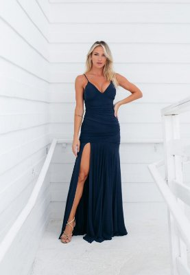 Vestido Hollywood Microtule Azul Marinho