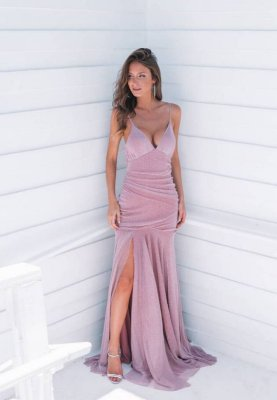 Vestido Hollywood Lurex Rosa
