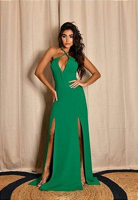 Vestido Decote V Verde