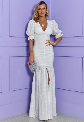 Vestido Laise Fenda  Branco