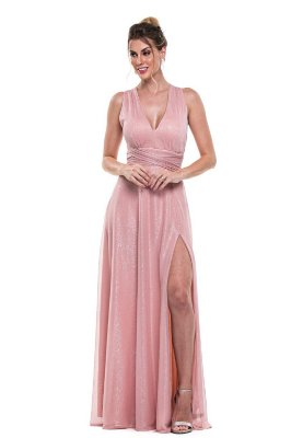 Vestido Mil Formas Lurex Rosa