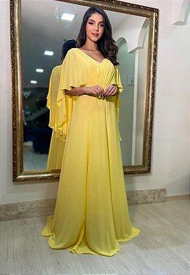 Vestido Capa Decote Amarelo