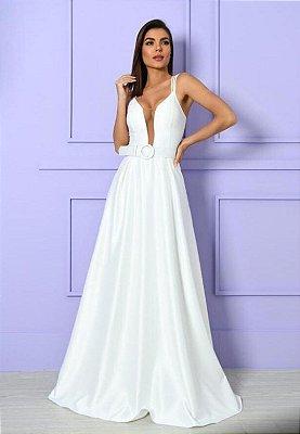 Vestido Crepe Acetinado Branco