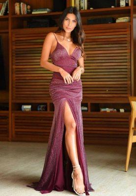Vestido Hollywood Lurex Marsala