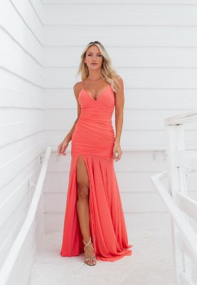 Vestido Hollywood Microtule Coral