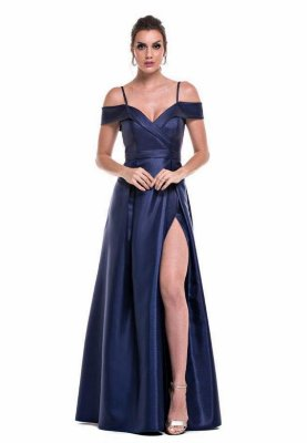 Vestido Zibeline Azul Marinho
