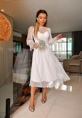 Vestido Tule Poá Off-White