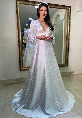 Vestido Cetim Poá Branco