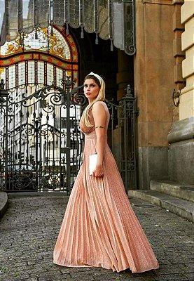 Vestido Plissado Rosé Gold