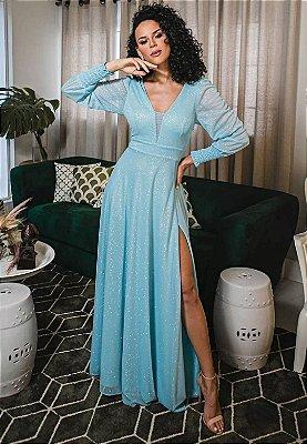 Vestido Lurex Azul Serenity