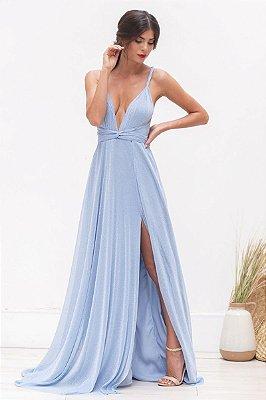 Vestido Mil Formas Lurex Azul Serenity