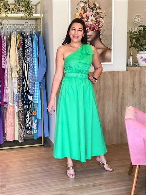 Vestido Tricoline com Cinto Verde
