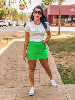 Conjunto Blusa Malha + Short Saia Moletinho Verde