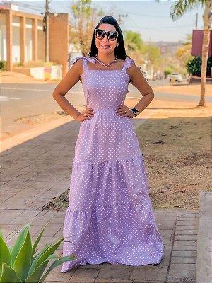 Vestido Longo Poá Tricoline Lavanda