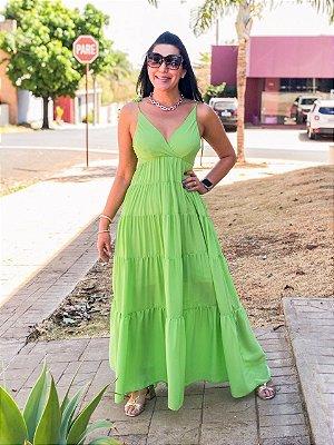 Vestido Longo Verde Fiorella