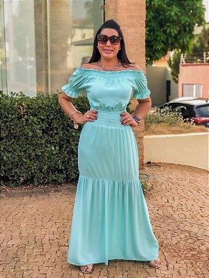 Vestido Longo Lastex Ombro a Ombro Tiffany