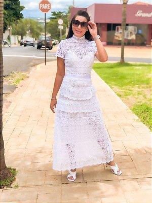 Vestido Longo em Guipir Branco