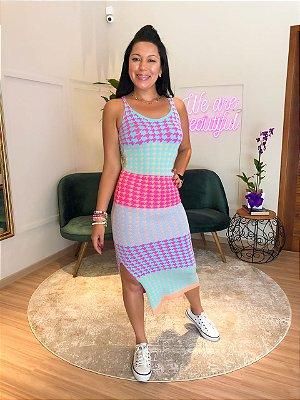 Vestido Modal Pied de Poule Color