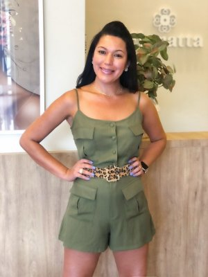 Conjunto Linho Cropped + Short Verde Militar Lov.it