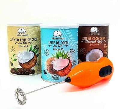 Trio Leite de Coco (Café, Chocolate Belga e Coco) + Mini Mixer