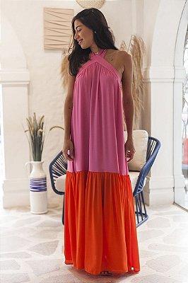 Vestido Maré Color Rosa e Laranja