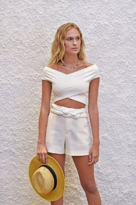Cropped Ribana Mexico off white